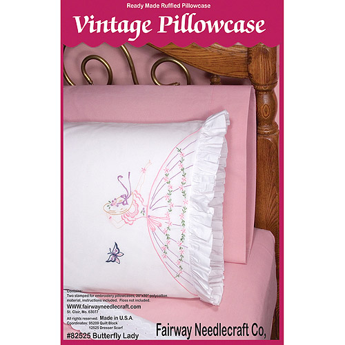 "Fairway Needlecraft Butterfly Lady Stamped Lace Edge Pillowcase Pair, 30"" x 20"""