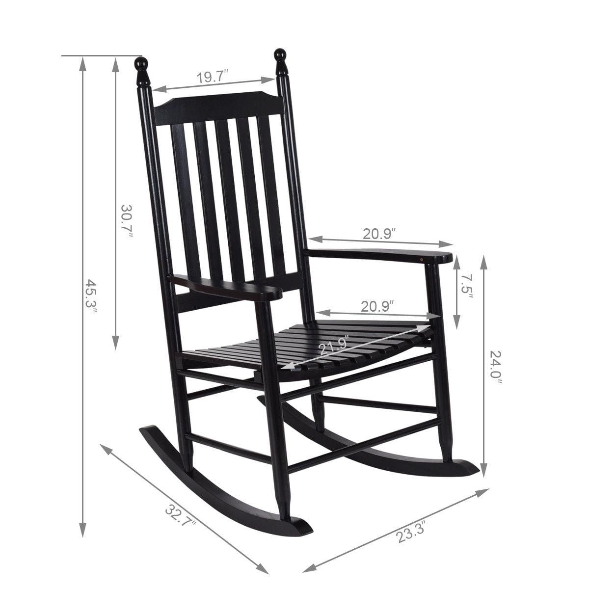 Gymax Wooden Rocking Chair Porch Rocker Armchair Balcony Deck Garden Furniture Black - image 3 of 8