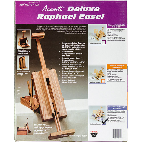 Raphael Deluxe Table Top Easel with Watercolor Set, Natural