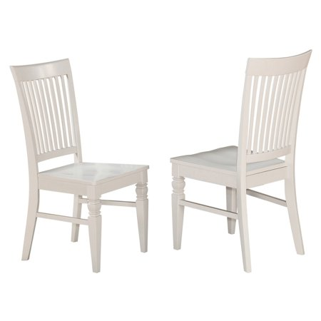 East West Furniture Weston Slat Back Dining Chair with Wooden Seat - Set of 2
