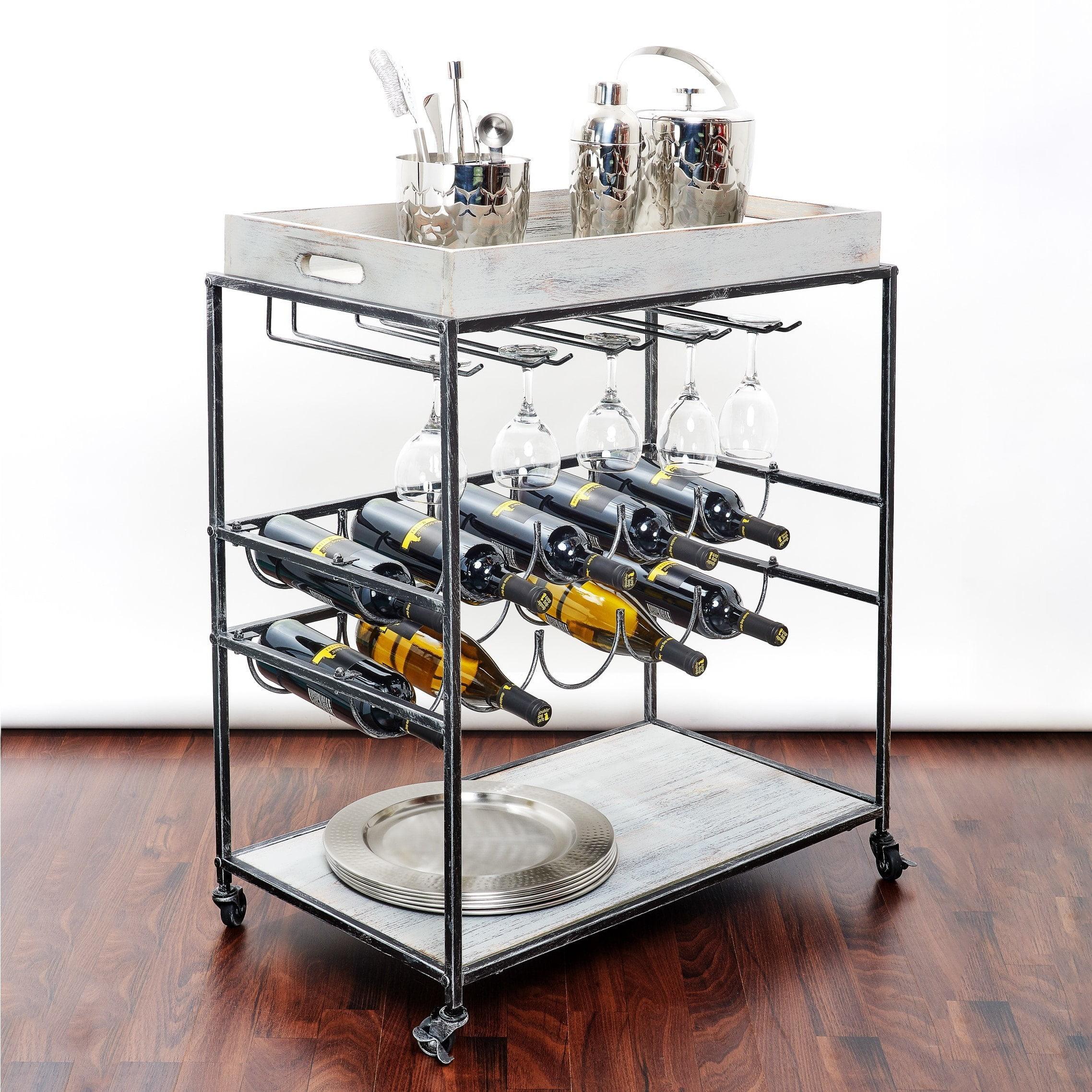 Oliver & James  Riza Grey Wine Serving Cart