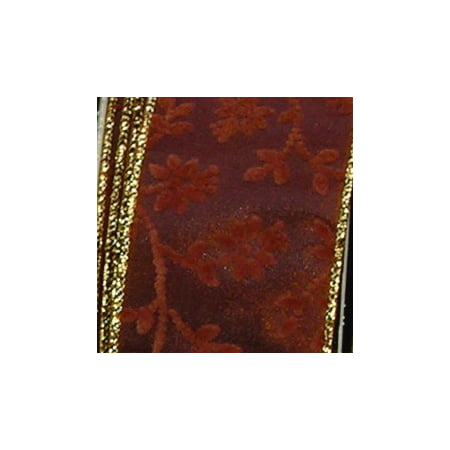 Brown Satin with Velvet Floral Pattern Wired Craft Ribbon 2