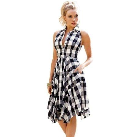 Women Sleeveless Plaid Shirtdress Vintage Dress Summer Knee-length Shirts -