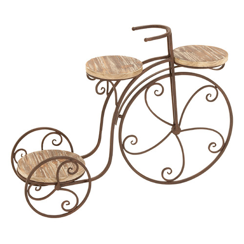 Decmode Metal and Wood Bicycle Plant Stand, Multi Color