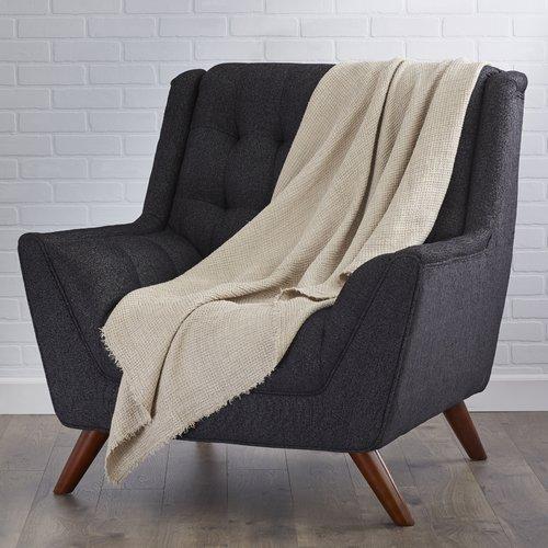 Saro Waffle Weave Linen Throw Blanket