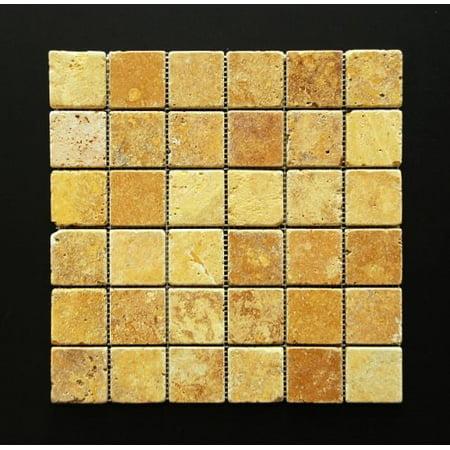gold/yellow 2 x 2 tumbled travertine mosaic tile Tumbled Travertine Tile