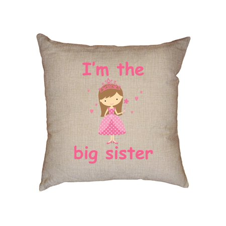 (Cute Princess - I'm The Little Sister - Family Decorative Linen Throw Cushion Pillow Case with Insert)