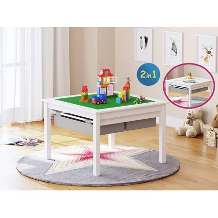 UTEX Wooden 2 In 1 Kids Construction Play Table with Storage Drawers and Built In Broad, White - Wooden Play Table