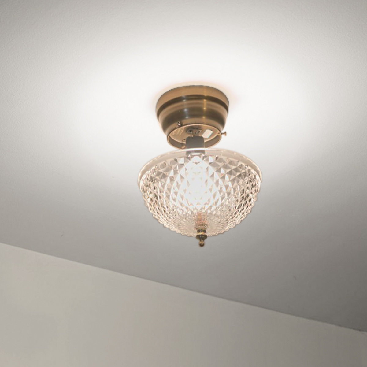 Hampton Direct Ceiling Clip On Diamond Cut Acrylic Dome Light Shade ...