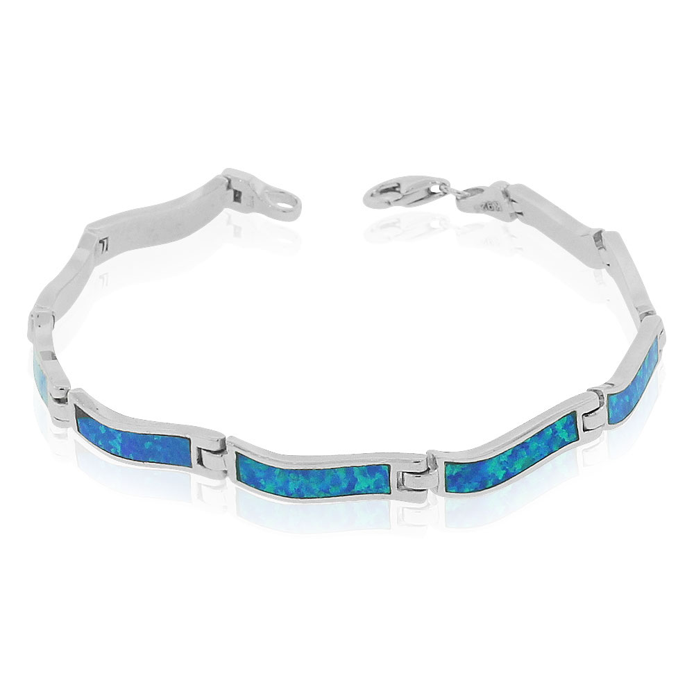 """925 Sterling Silver Simulated Blue Opal Link Tennis Bracelet, 7"""" by My Daily Styles"""