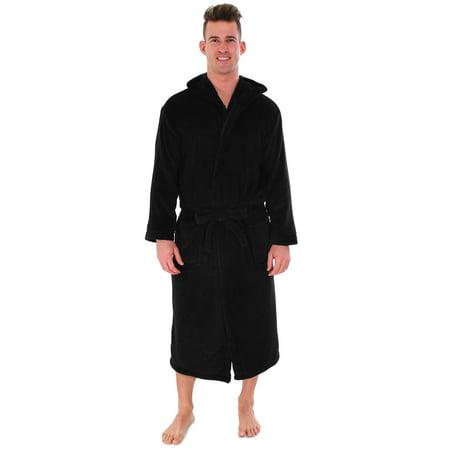 Unisex Plush Fleece Hooded Robe Kimono Bathrobe Sleepwear, Black Hooded Kimono Robe