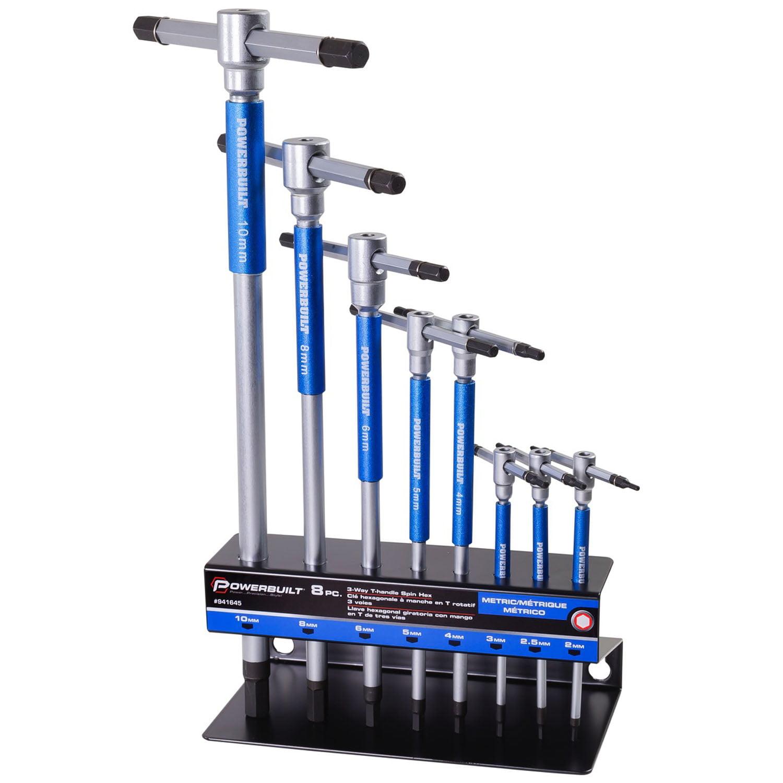 Powerbuilt 8 Pc Metric T-Handle Hex Allen Key Wrench Set w/Storage Rack - 941645