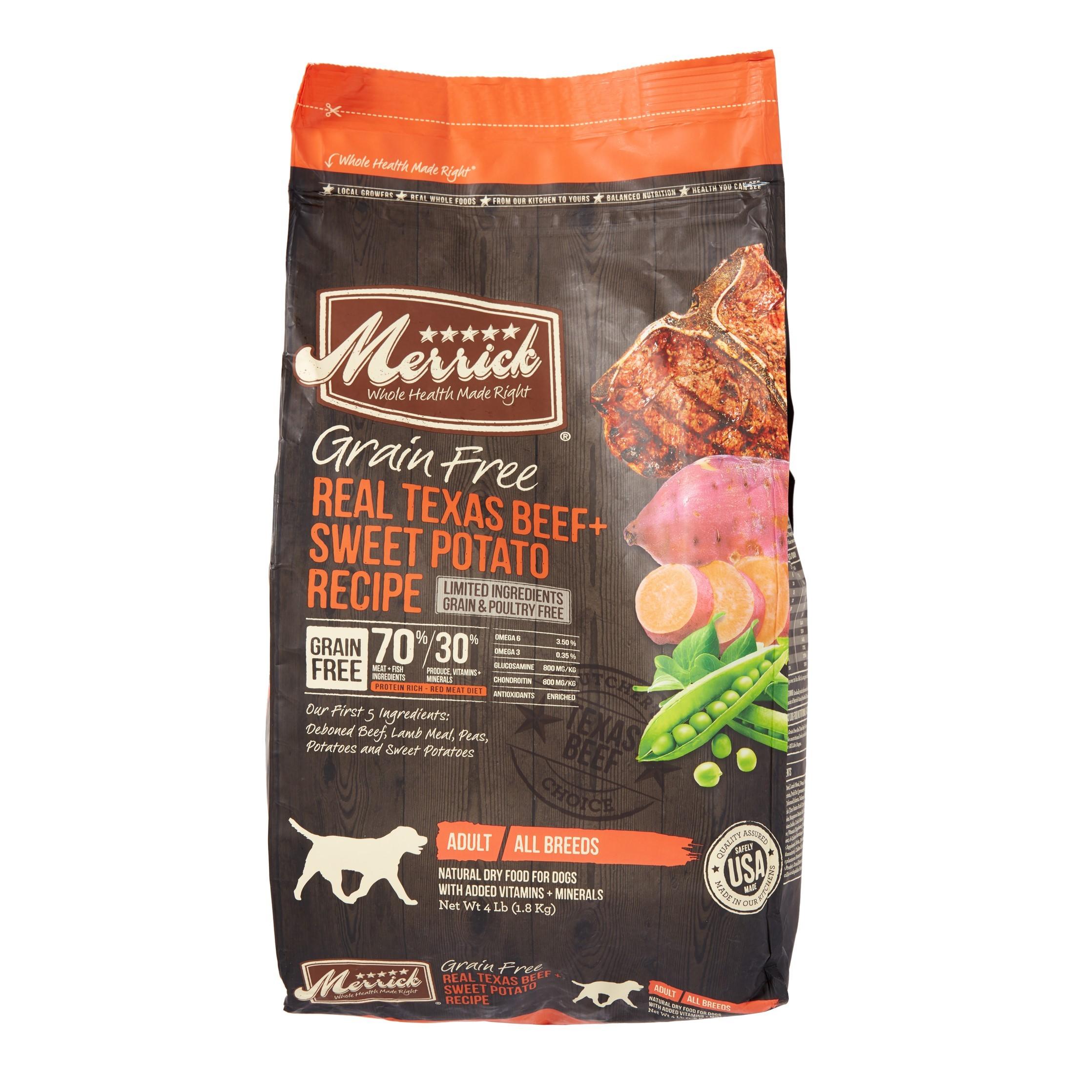 Merrick Grain-Free Real Texas Beef + Sweet Potato Recipe Dry Dog Food, 4 lb