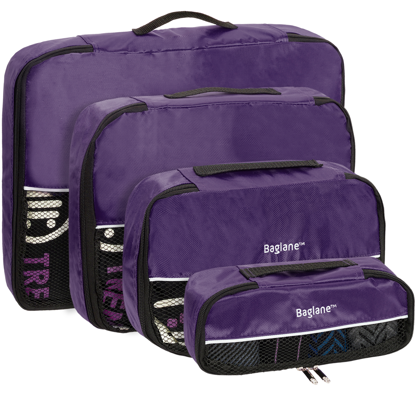 Baglane Purple TechLife Luggage Travel Packing Cube Bags - 4pc Set (XS-L)