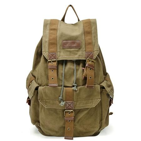 Gootium Unisex Vintage Canvas Backpack Rucksack Travel Hiking Camping School Backpacks (Vintage Boy Scout Backpack)