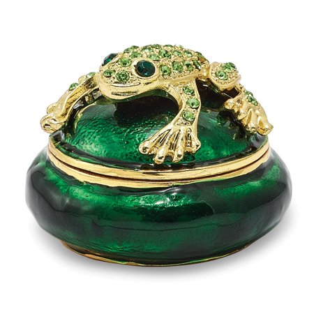 Bejeweled Frog - Bejeweled Pewter Enamel Frog on Trinket Box