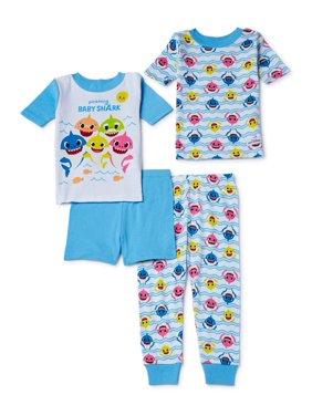 Baby Shark Baby Toddler Boy or Girl Unisex Short Sleeve Snug Fit Cotton Pajamas, 4pc Set