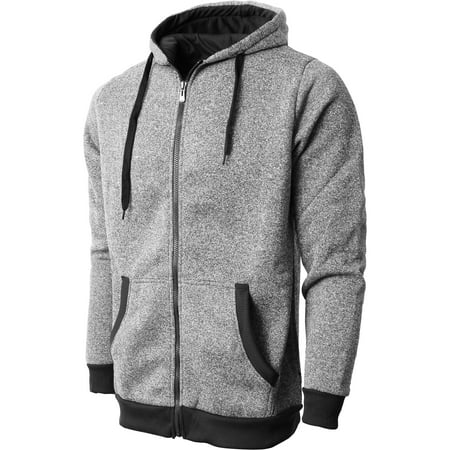 - Mens Marled Zip Up Hoodie Jacket Textured Brushed Fleece Soft Lightweight Sweater