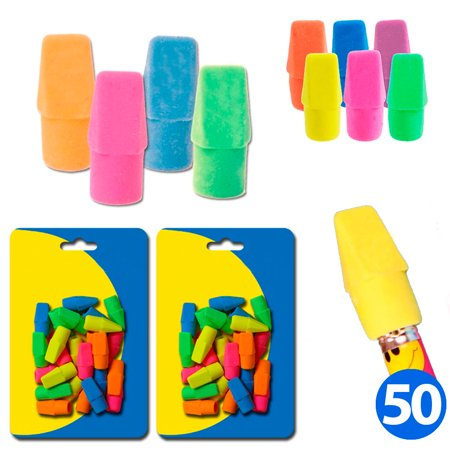 50 Neon Assorted Birthday Party Favor Erasers Pencil Top Non Abrasive Arrowhead Arrowhead Pencil Cap Erasers