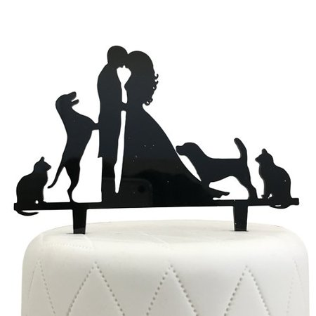 Unik Occasions Bride, Groom, Two Dogs & Two Cats Silhouette Acrylic Cake Topper - Brunette Bride Cake Topper