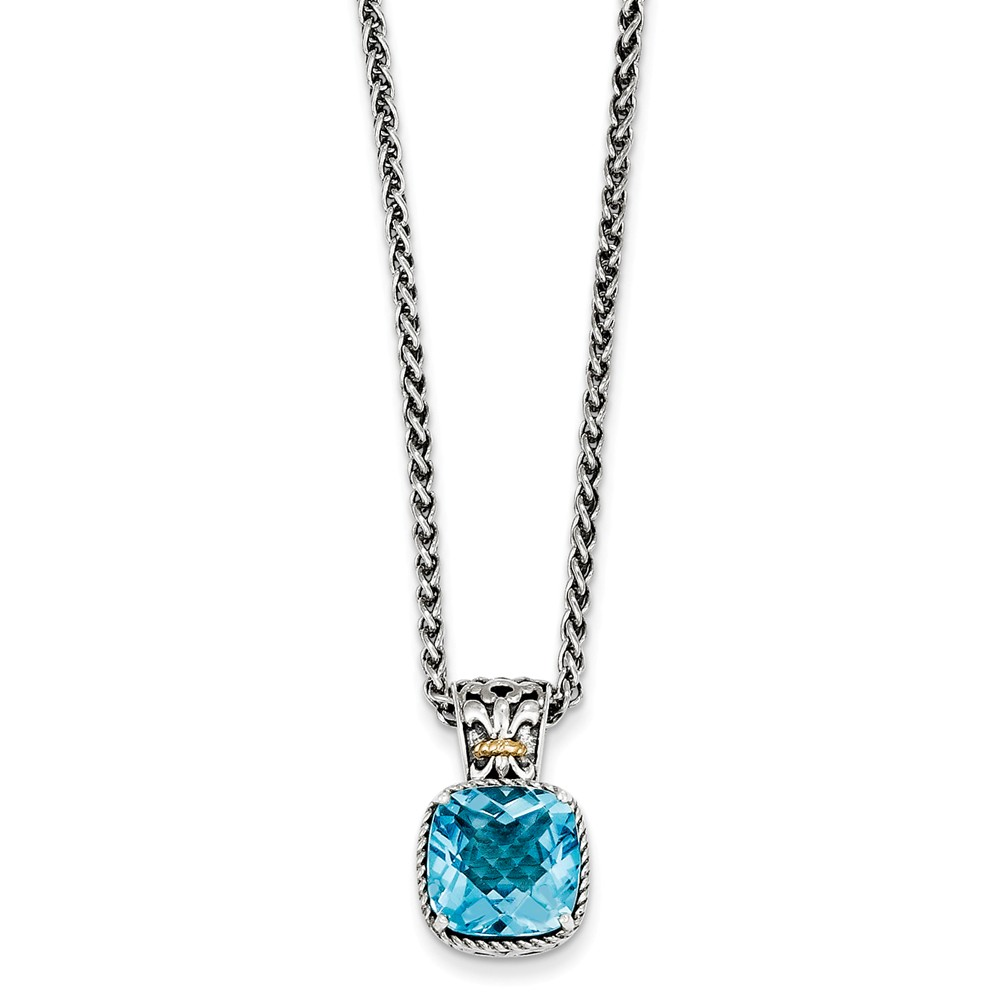 925 Sterling Silver Blue Topaz Cushion Soliatire Pendant Necklace