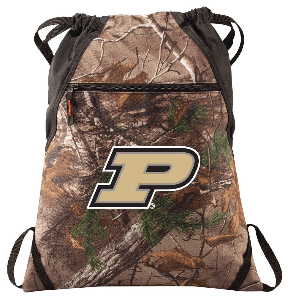 RealTree Camo Purdue University Cinch Pack Backpack Official Purdue University Camo Drawstring Backpack for Him or Her