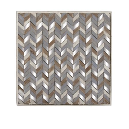 Decmode 36 X 36 Inch Traditional Black Chevron-Patterned Square Wooden Mirrored Wall Art, (Square Traditional Wall)