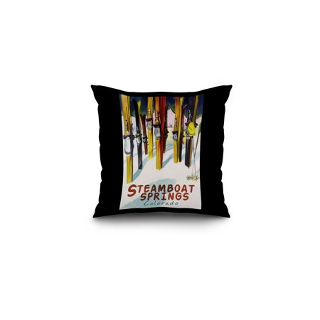 Steamboat Springs, Colorado - Colorful Skis - Lantern Press Artwork (16x16 Spun Polyester Pillow, Black Border) - Halloween Party Colorado Springs