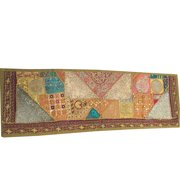 "Mogul Indian Patchwork Green Table Runner Vintage Sari Zari Embroidery Wall Decor 60""x18"""