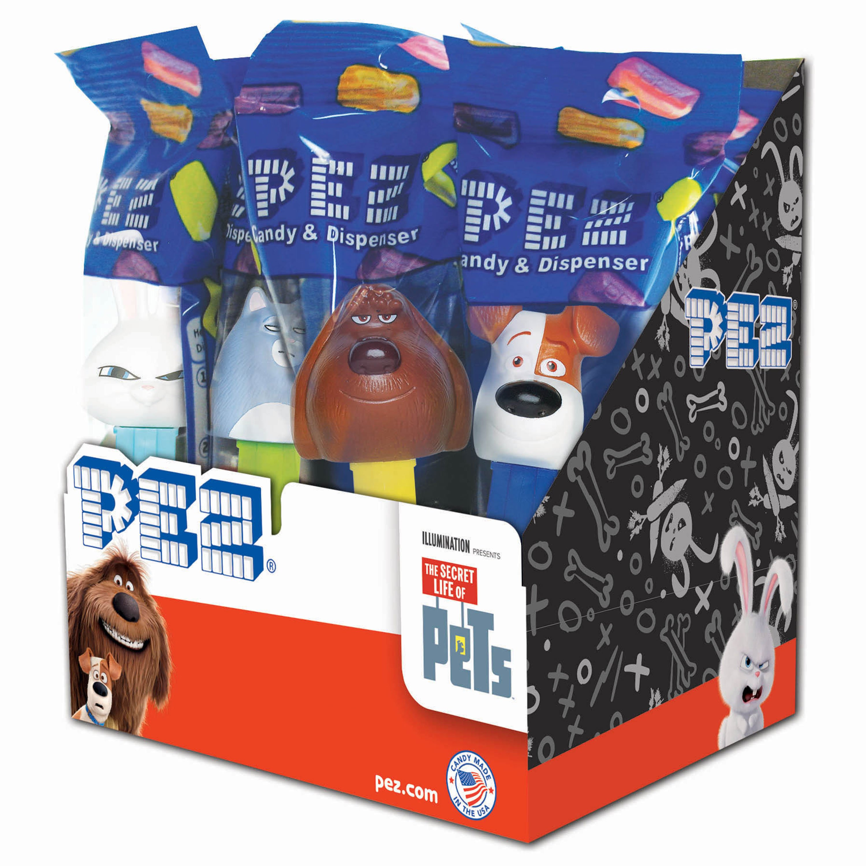 PEZ Candy Secret Life of Pets Assortment, candy dispenser plus 2 rolls of assorted fruit candy, box of 12