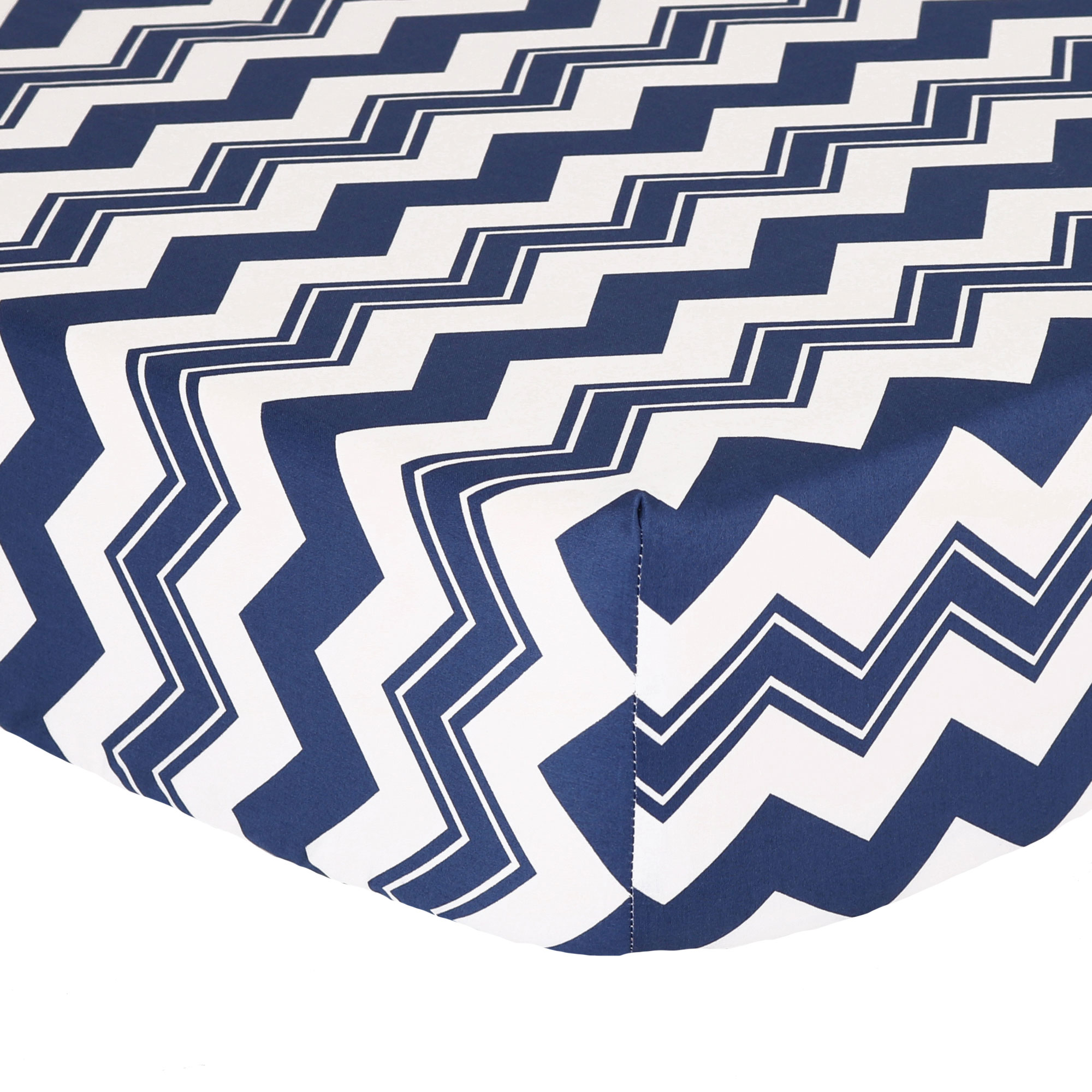 The Peanut Shell Baby Crib Fitted Sheet - Navy Blue Zig Zag Chevron Design - 100% Cotton Sateen, Fits Standard 52 by 28 Inch Mattress