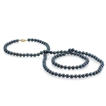 14K Gold 5.5-6.0mm Black Akoya Cultured Pearl Necklace - AAA Quality, 36
