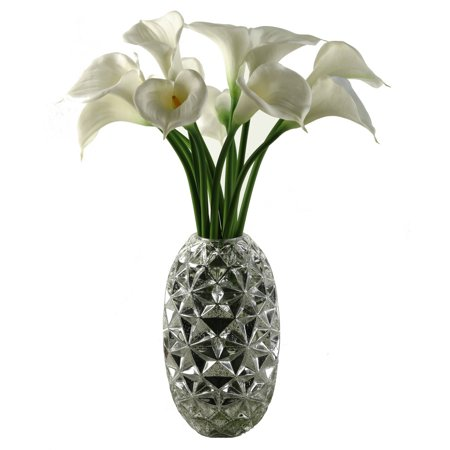 Dw Silks Large White Natural Touch Calla Lilies In Silver Glass
