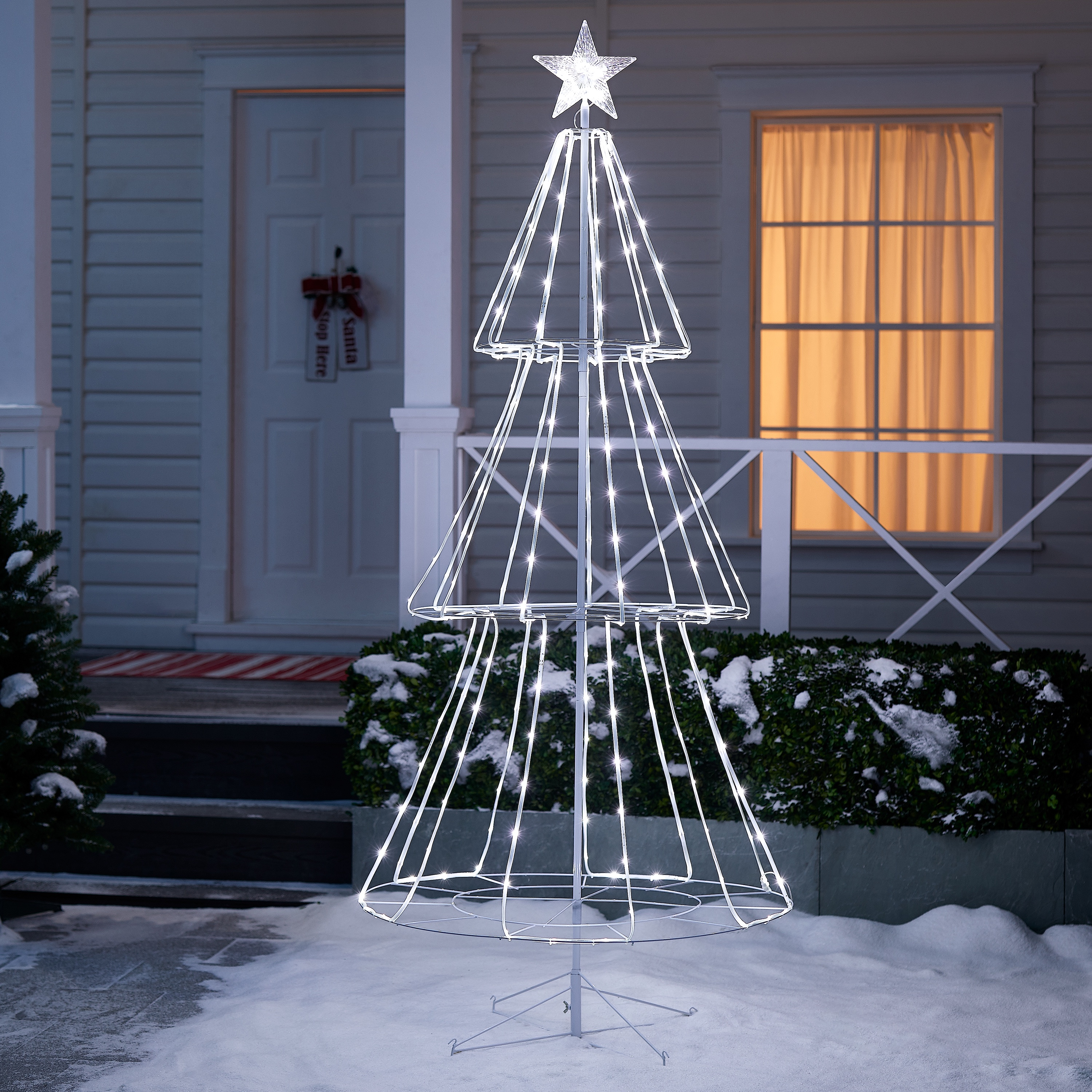 Holiday Time 8 Function LED Pre-Lit Christmas Tree, 7', Cool White