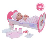 "LA NEWBORN 10 Piece Deluxe Rocking CRIB GIFT SET, featuring 14"" Life-Like All Vinyl Smiling Baby Newborn Doll, Pink"