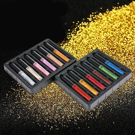 12-Color Make-up Super Flash Glitter Eye Shadow Lip Gloss Bright Colorful Makeup Eye Shadow Set Long Lasting