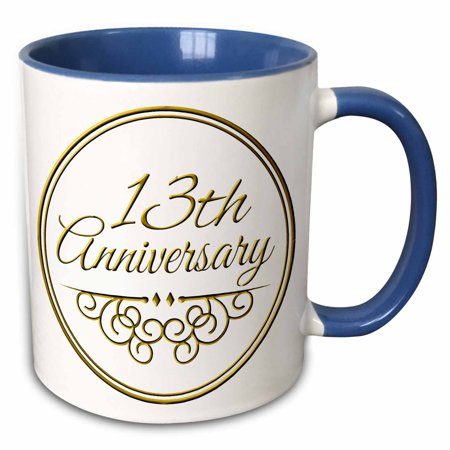 3dRose 13th Anniversary gift - gold text for celebrating wedding anniversaries 13 thirteen years together - Two Tone Blue Mug,