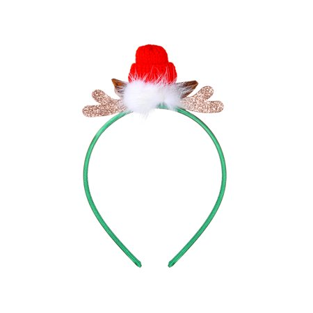 - Lux Accessories Green Little Red Hat Reindeer Antlers Fur Ball Fashion Headband