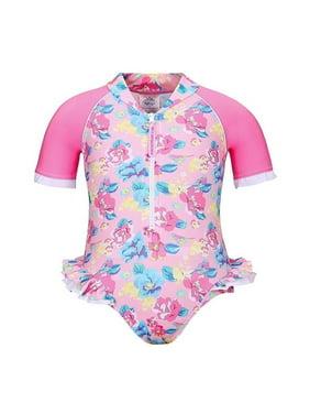 Sun Emporium Girls Pink Blue Vintage Blossom Printed Frill Sun Suit 8