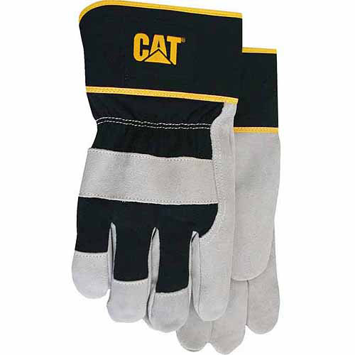 Cat Gloves Rainwear Boss MFG CAT013201L Large Gray Leather Palm Gloves