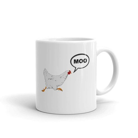 Chicken Novelties (Funny 'Chicken Moo' Novelty Humor 11oz White Ceramic Glass Coffee Tea Mug)
