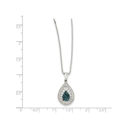 925 Sterling Silver Rhodium Plated Blue & White Diamond (13x18mm) Pendant / Charm - image 3 of 5