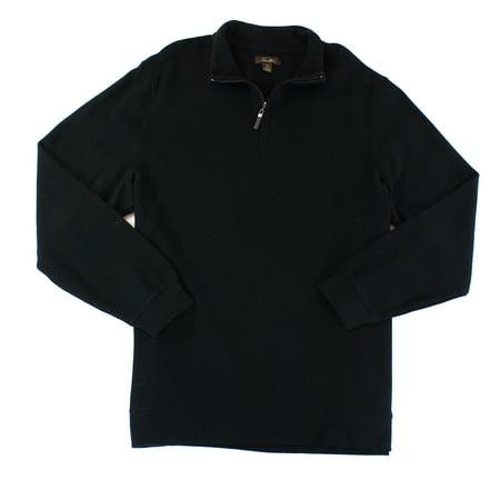 Tasso Elba NEW Black Mens Size XL 1/2 Zip Solid Pullover Sweater Half Zip Logo Sweater