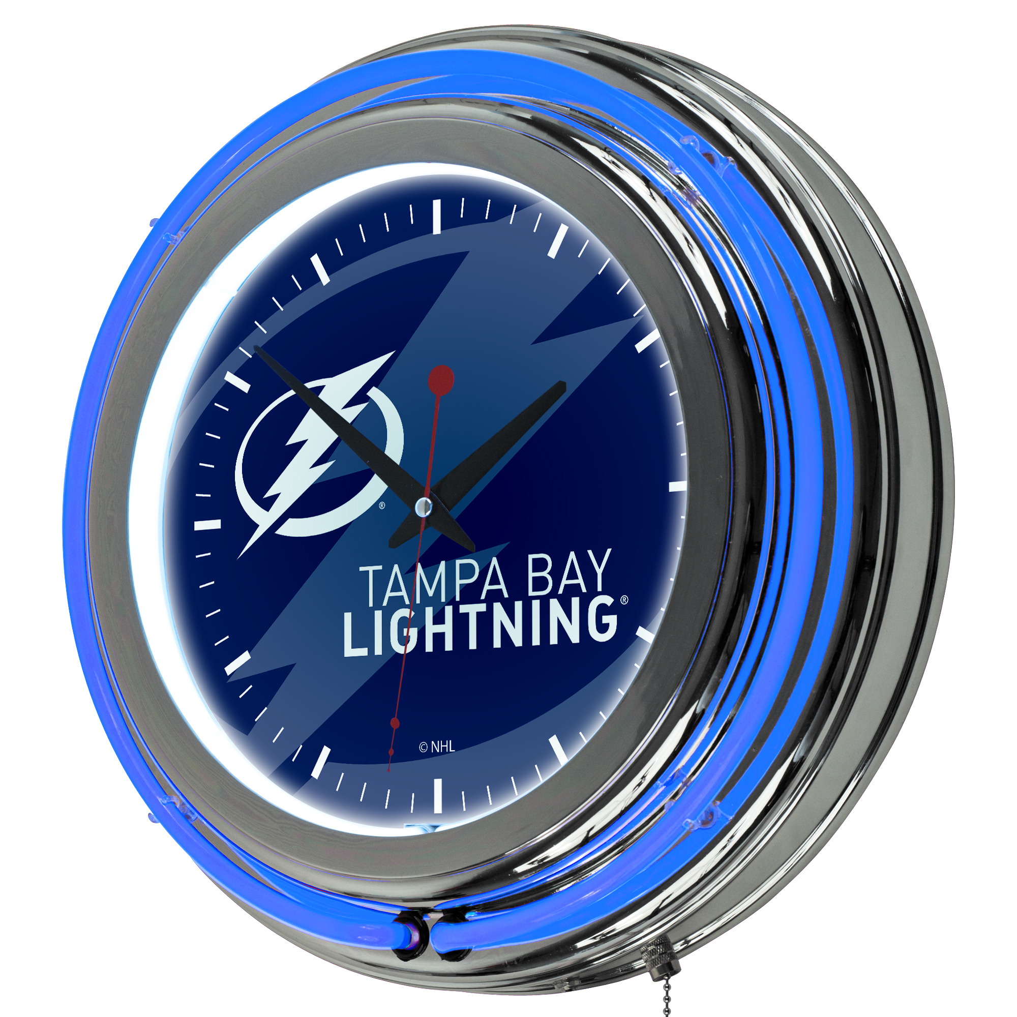 NHL Chrome Double Rung Neon Clock - Watermark - Tampa Bay Lightning