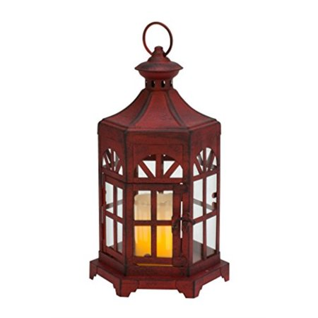 Biedermann & Sons Antique Lantern Candle Holder, Red ()