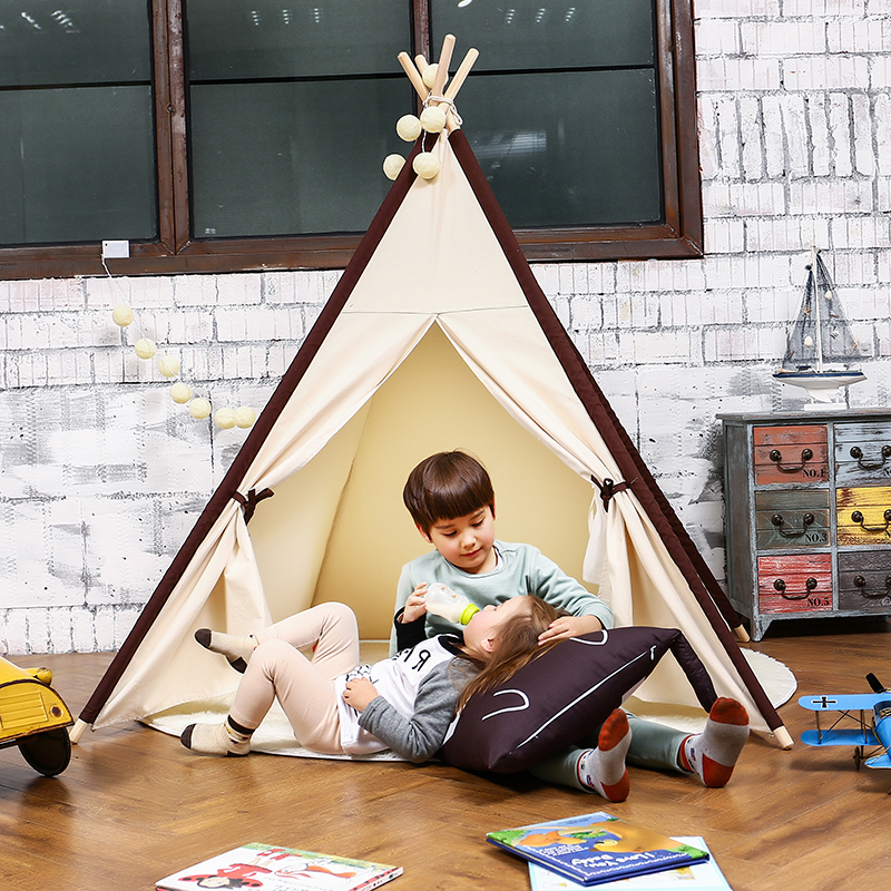 LoveTree 4-Pole Teepee Kids Indoor Princess Play House Tent, White Window Owls
