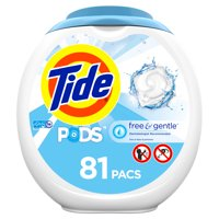 Tide PODS Free & Gentle, Liquid Laundry Detergent Pacs, 81 count