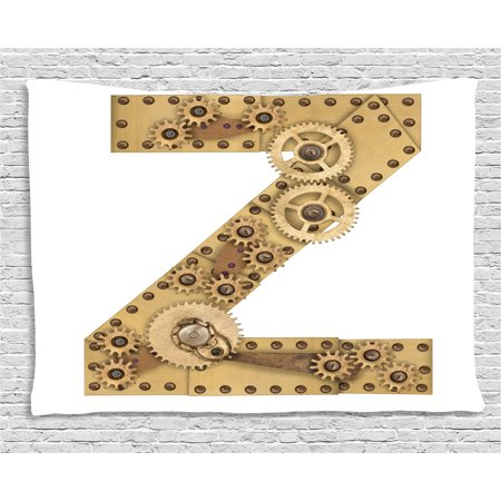 Letter Z Tapestry, Mechanical Gears Capital Letter Z Fantastic Fictional Elements Industrialization, Wall Hanging for Bedroom Living Room Dorm Decor, 60W X 40L Inches, Sand Brown, by Ambesonne