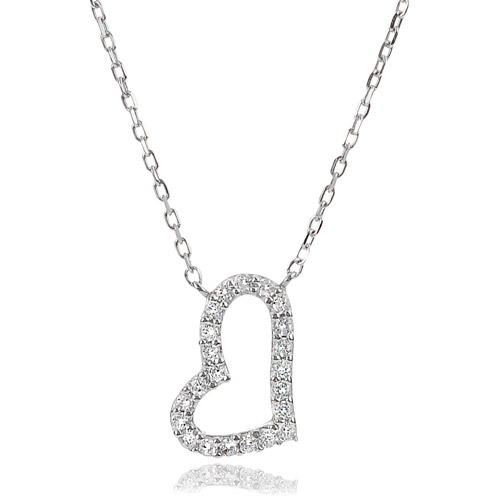 "Alexandria Women's CZ Sterling Silver Slanted Heart Pendant, 18"""