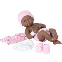"""JC Toys La Newborn 14"""" All-Vinyl Baby Doll and Deluxe Pink Lafayette Gift Set - African American"""